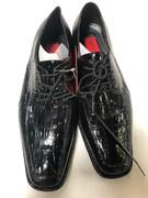 *ULTIMATE* Men's Black Shiny Fancy Print Dress Shoes FREE SHIPPING - SZ 10