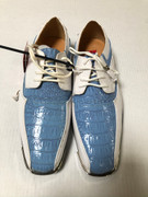 *ULTIMATE* Men's Baby Blue and White Metal Tip EXOTIC Dress Shoes FREE SHIPPING - SZ 8.5