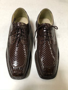 *ULTIMATE* Men's Shiny Brown WIDE Exotic Print Hot Toe Dress Shoes FREE SHIPPING - SZ 10.5W