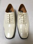 *ULTIMATE* Men's Shiny Formal Creme Ivory Tux Dress Shoes FREE SHIPPING - SZ 9.5