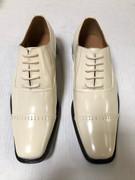 *ULTIMATE* Men's Cap-Toe Formal Creme Ivory Tux Dress Shoes FREE SHIPPING - SZ 9.5