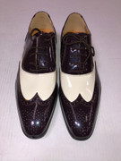 *ULTIMATE* Men's Chocolate Brown Shiny Wing Tip Two-Tone Pointed Toe Dress Shoe FREE SHIPPING - SZ 10.5