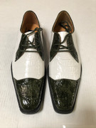 *ULTIMATE* Men's Olive/White Exotic Two-Tone Pointed Toe Dress Shoe FREE SHIPPING - SZ 10.5