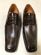 *ULTIMATE* Men's Brown Checkered Pointed Exotic Dress Shoes FREE SHIPPING - SZ 10