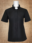 Women's Clergy Dress Shirt Tab Collar Black Short Sleeves