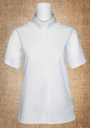 Tab Collar Women's Clergy Dress Shirt White Short Sleeves
