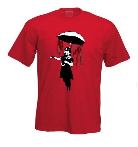 T-shirt Femme Col Rond Banksy Nola Rain Girl Umbrella Girl Ouragan Katrina