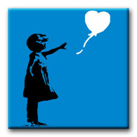 Square Banksy Canvas Print - Blue
