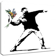 Banksy Canvas Prints Square - Flower Thrower