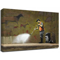 Banksy Canvas Print - Graffiti Cleaner