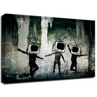 Banksy Canvas Print - TV Heads