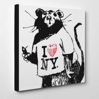 Banksy Canvas Print - I Love NY Rat