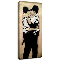 Banksy Canvas Print - Kissing Coppers Men