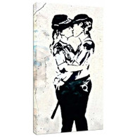 Banksy Canvas Print - Kissing Coppers Women