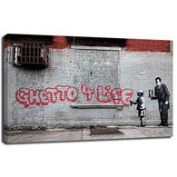 Banksy Canvas Print - Ghetto 4 life