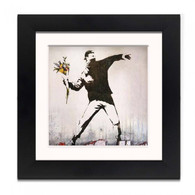 Banksy Framed Print with Mount - Flower Thrower