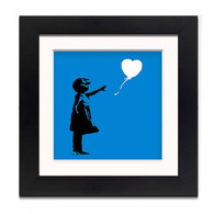 Banksy Framed Print with Mount- Balloon Girl Blue