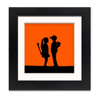 Banksy Framed Print with Mount - Boy Meets Girl Orange