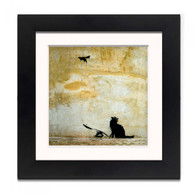 Banksy Framed Print with Mount- Cat and Mouse