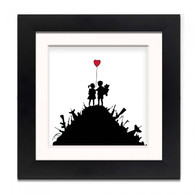 Banksy Framed Print with Mount - Kids with guns