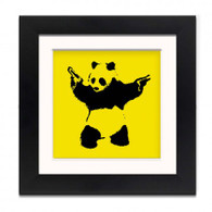 Banksy Framed Print with Mount - Panda Wall Yellow