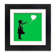 Banksy Framed Print with Mount- Balloon Girl Green