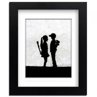 Banksy Framed Print with Mount- Boy meets Girl