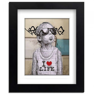 Banksy Framed Print with Mount - I love life boy