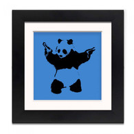 Banksy Framed Print with Mount - Panda Wall Blue