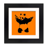 Banksy Framed Print with Mount - Panda Wall Orange