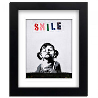 Banksy Framed Print with Mount - Smile Girl