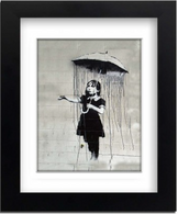 Banksy Framed Print with Mount - Umbrella Girl
