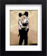 Banksy Framed Print with Mount - Kissing Coppers