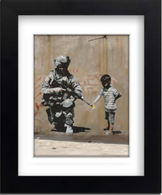 Banksy Framed Print with Mount - Flower Gun