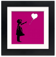 Banksy Framed Print with Mount- Balloon Girl Purple