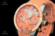 TechnoSport Salmon Colored Stainless Steel Case Quartz Multifunction Silicone Strap Watch - TS-100-8SEA