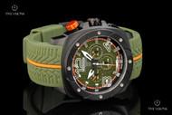 TechnoSport Unisex 47mm Swiss Parts Quartz Multifunction Military Green / Orange Silicone Strap Watch - TS-780-1