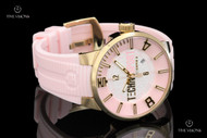 TechnoSport Women's 44mm Light Pink Quartz Silicone Strap Watch & Extra Strap - TS6-2000-2