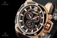 TechnoSport Unisex 44mm Swiss-parts Quartz Chronograph Black Silicone Strap Watch - TS-100-1