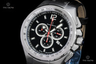 "Giorgio Milano ""964"" Black Dial Chronograph Leather Strap Watch w/ Custom Deployant Clasp - 964ST032"