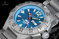Reactor Gamma 45.5mm Titanium Caribbean Blue Dial Bracelet Watch with Never Dark Technology - 52003