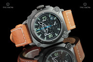Dogfight Men's 44mm Square Case Experten Collection Quartz Chronograph Brown Leather Strap Watch - DF0005