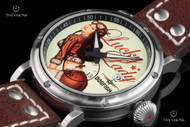 Dogfight Men's 44mm Pin up Collection Lucky Lady Limited Edition Quartz Leather Strap Watch - DF0041