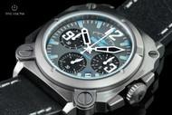 Dogfight Men's 44mm Square Case Experten Collection Quartz Chronograph Black Leather Strap Watch - DF0007