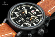 Dogfight Men's 44mm Ace Collection Black Dial Quartz Chronograph Leather Strap Watch - DF0010
