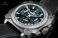 Dogfight Men's 44mm Square Case Experten Collection Quartz Chronograph Black Leather Strap Watch - DF0008