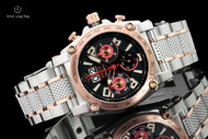 Reactor 44.5mm Warp Black Dial Chronograph Rose Gold / Silver Tone Bracelet Watch w 8 Layers Superluminova - 41601