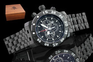 Invicta Men's 53mm Sea Base Titanium Black IP Swiss Quartz Chronograph Bracelet Watch with Wooden Presentation Box - 14285