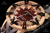 Xoskeleton Men's 50mm Superlative Star Limited Edition Brown Mother-of-Pearl Automatic Rose Gold Bezel Bracelet Watch