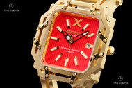 Xoskeleton Men's 48mm Intercontinental Voyager Limited Edition Red Dial Automatic 18kt Gold Plated Bracelet Watch